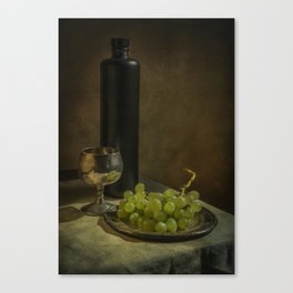 Still life with wine and green grapes Canvas Print