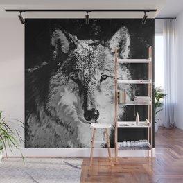 wolf splatter watercolor black white Wall Mural