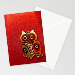 Retro Wood Owl Stationery Cards