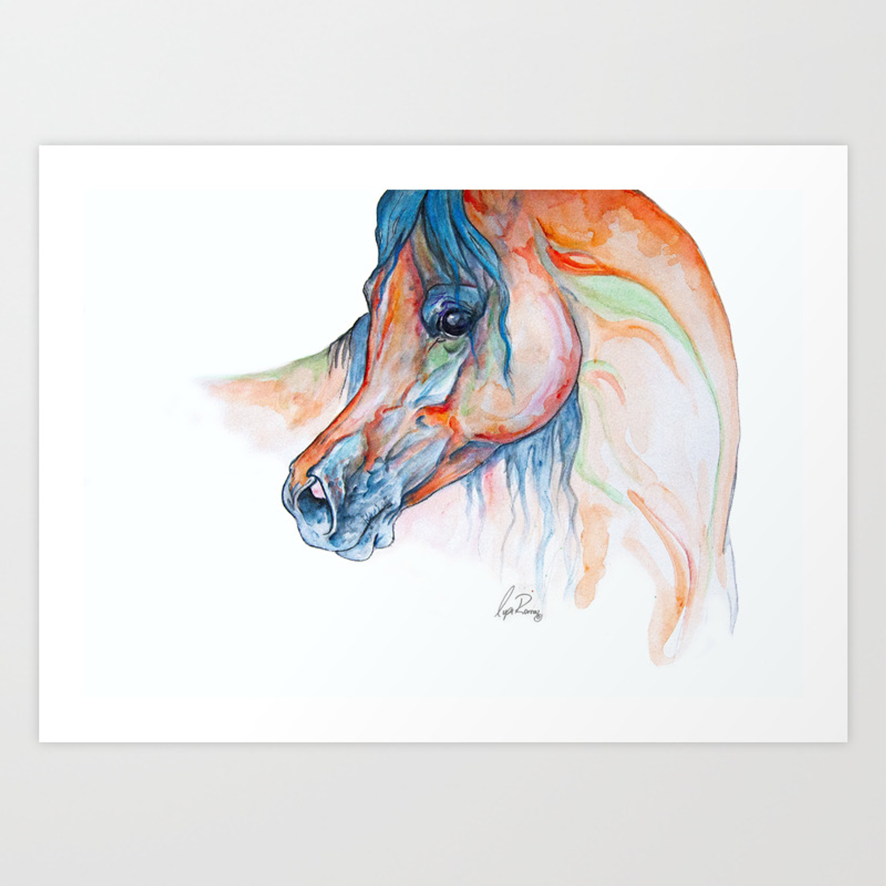 Blush Watercolor Painting Of An Arabian Horse Art Print By Lysaromanstudio Society6