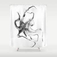 fish Shower Curtains featuring Octopus by Alexis Marcou