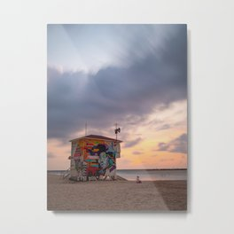 Lifeguard house during sunset on Gordon Beach Tel Aviv, Isreal | Travel photography Middle East Metal Print