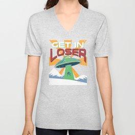 Get In Loser Vintage Alien UFO Stuff Alien Lovers Gift graphic Unisex V-Neck