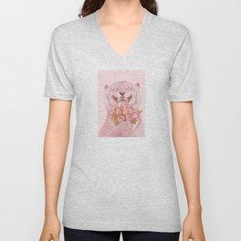10. Shy Pink Tiger Unisex V-Neck