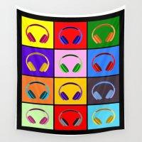 headphones Wall Tapestries featuring Pop Art Headphones by Kreativista