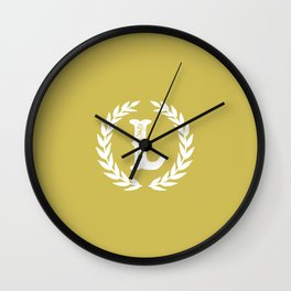 Mustard Yellow Monogram: Letter L Wall Clock