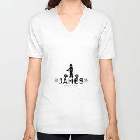 james franco V-neck T-shirts featuring James by Papa-Paparazzi