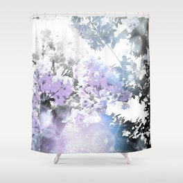 Watercolor Floral Lavender Teal Gray Shower Curtain