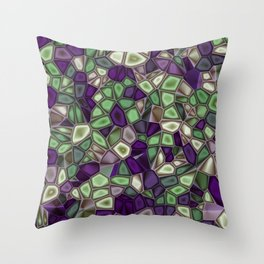 Fractal Gems 02 - Purples and Greens Throw Pillow