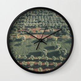Italy Landscape, Drone photos, aerial photography, Puglia, countryside Wall Clock