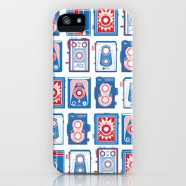 VINTAGE CAMERAS BLUE AND RED iPhone Case