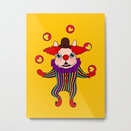 Clown Dog Frenchie entertains you with love and cuteness Metal Print