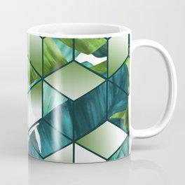 Tropical Cubic Effect Banana Leaves Design Coffee Mug