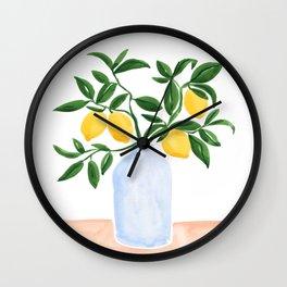 Lemon Tree Branch in a Vase Wall Clock