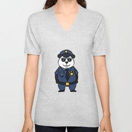 Police security panda bear cartoon children gift Unisex V-Neck