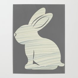 rabbit silhouette with grey color Poster