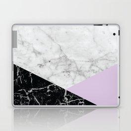 White Marble - Black Granite & Light Purple #388 Laptop & iPad Skin