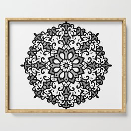 Monochrome classic mandala Serving Tray