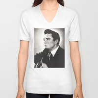 johnny cash V-neck T-shirts featuring Johnny Cash by bellevuetriangle