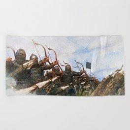 Medieval Army in Battle Beach Towel