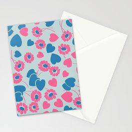Retro Heart Flower Garden in Neon Blue + Pink Stationery Cards