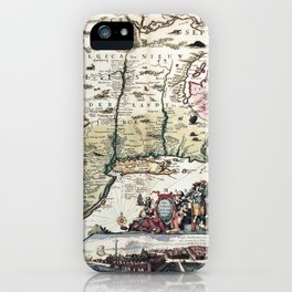 New England old map with New Amsterdam iPhone Case