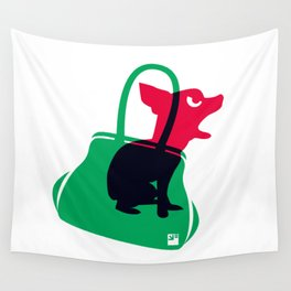 Angry animals: chihuahua - little green bag Wall Tapestry