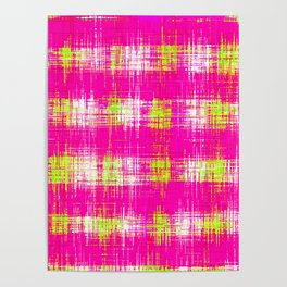 plaid pattern graffiti painting abstract in pink and yellow Poster