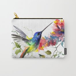 Hummingbird, tropical Foliage, Hawaiian design, tropical, colors Carry-All Pouch