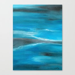 Blue Abstract Art In the Middle of the Ocean Canvas Print