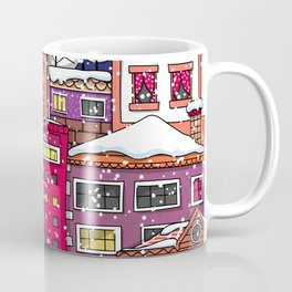 Winter town with falling snow. Coffee Mug