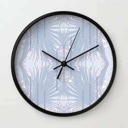 Tropical Art Deco Pattern - Pastel blue and pink Wall Clock