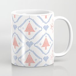 Christmas Tree Embroidery Stitches Seamless Vector. Hand Drawn Cross Coffee Mug