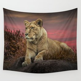 African Female Lion in the Grass at Sunset Wall Tapestry