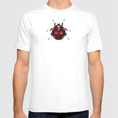 Ladybug Pink White Mens Fitted Tee SMALL
