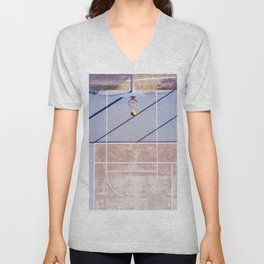 basketball court 3 Unisex V-Neck