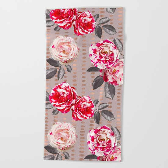 Rose Garden Polka Dots Beach Towel