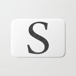 Letter S Initial Monogram Black and White Bath Mat