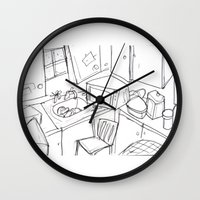 kitchen Wall Clocks featuring Kitchen by Frances Roughton