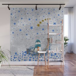 Snowman with sparkly blue stars Wall Mural