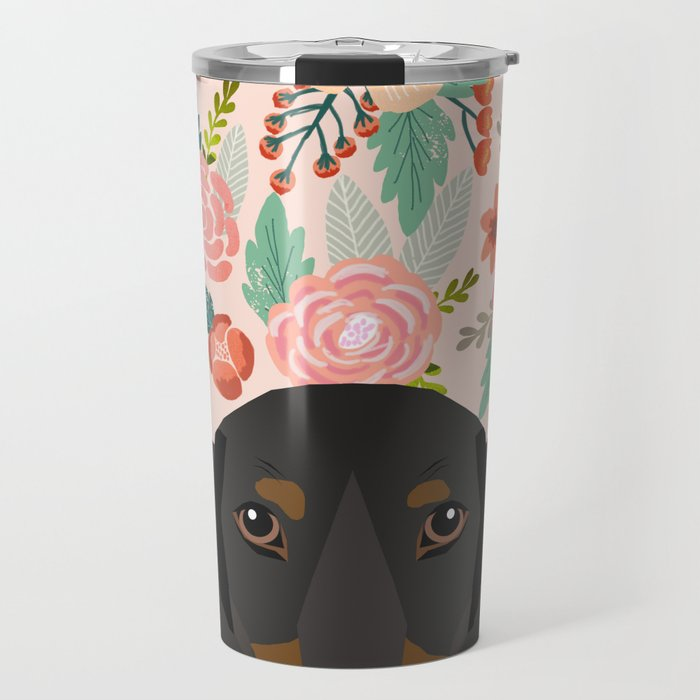 Dachshund florals cute pet gifts black and tan dachshund gifts for dog lover with weener dog Travel Mug