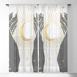 Gold La Lune In Hands Sheer Curtain