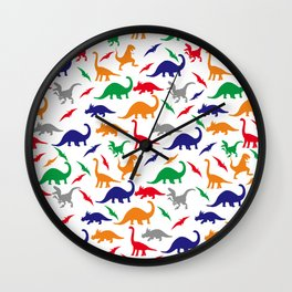 Colorful Dinos in Green, Grey, Red, Blue Yellow Wall Clock