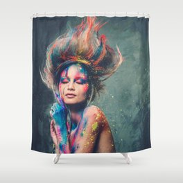 Young woman muse with creative body art and hairdo (6) Shower Curtain