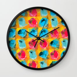 geometric polygon abstract pattern in blue orange red Wall Clock