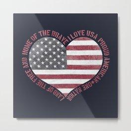 Vintage I Love USA Heart Metal Print