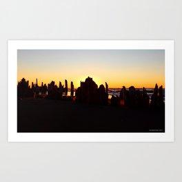Seaside Sunset behind the wharf remains Art Print