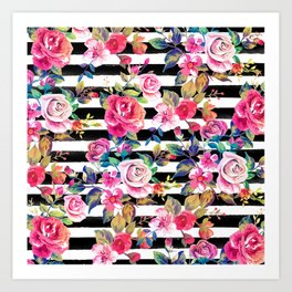 Cute spring floral and stripes watercolor pattern Art Print