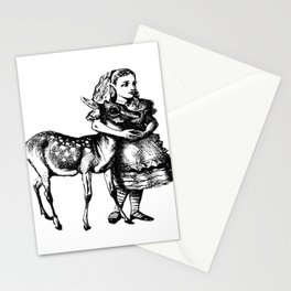 Alice and the Fawn in Black with Transparent Background Stationery Cards