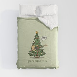 Spruce Springsteen - Funny Christmas Music Cartoon Pun Comforters